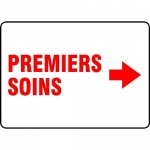 """Accuform FRMFSD534VS, Sign """"Premiers Soins"""" & Right Arrow Symbol"""