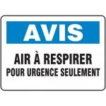 """Accuform FRMFSD820VS, Sign """"Air a Respirer Pour Urgence Seulement"""""""