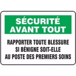 "Accuform FRMFSD946XL, French Sign ""Rapporter Toute Blessure…"""