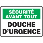 """Accuform FRMFSD956VS, Adhesive Vinyl French Sign """"Douche D'urgence"""""""