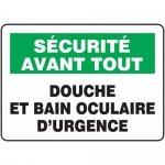"Accuform FRMFSR514XF, French Sign ""Douche Et Bain Oculaire D'urgence"""