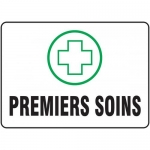 """Accuform FRMFSR523VS, Adhesive Vinyl French Sign """"Premiers Soins"""""""