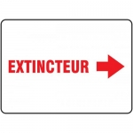 "Accuform FRMFXG912VS, French Sign ""Extincteur"" & Right Arrow Symbol"