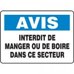 """Accuform FRMHSK847XL, French Sign """"Interdit De Manger Ou De Boire …"""""""