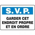 "Accuform FRMHSK949VS, Sign ""Garder Cet Endroit Propre Et En Ordre"""