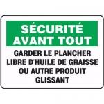 """Accuform FRMHSK952XL, Sign """"Garder Le Plancher Libre D'huile…"""""""