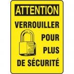 """Accuform FRMLKT627XL, French Sign """"Verrouiller Pour Plus De Securite"""""""