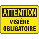 """Accuform FRMPPA677XL, Aluma-Lite French Sign """"Visiere Obligatoire"""""""