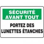 """Accuform FRMPPE928XL, French Sign """"Portez Des Lunettes Etanches"""""""