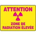 "Accuform FRMRAD613XF, French Sign ""Attention Zone De Radiation Elevee"""