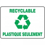 "Accuform FRMRCY516XT, French Sign ""Recyclable Plastique Seulement"""