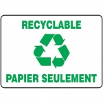 """Accuform FRMRCY528VS, French Sign """"Recyclable Papier Seulement"""""""