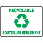 """Accuform FRMRCY573VS, French Sign """"Recyclable Bouteilles Seulement"""""""