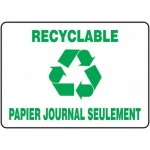 """Accuform FRMRCY576VS, Sign """"Recyclable Papier Journal Seulement"""""""
