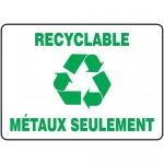 """Accuform FRMRCY577XF, French Sign """"Recyclable Metaux Seulement"""""""