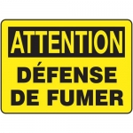 "Accuform FRMSMK623XT, French Sign ""Attention Defense De Fumer"""
