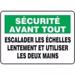 """Accuform FRMSTF900XT, Sign """"Escalader Les Echelles Lentement…"""""""