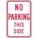 """Accuform FRP101RA, Reflective Aluminum Sign """"No Parking This Side"""""""