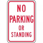 """Accuform FRP105RA, Reflective Aluminum Sign """"No Parking or Standing"""""""