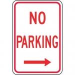 "Accuform FRP111RA, Aluminum Sign ""No Parking"" & Right Arrow Symbol"