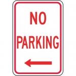 "Accuform FRP112RA, Aluminum Sign ""No Parking"" & Left Arrow Symbol"