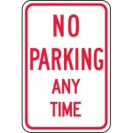 """Accuform FRP114RA, Reflective Aluminum Sign """"No Parking Any Time"""""""