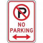 "Accuform FRP118RA, Parking Sign ""No Parking"" & Double Arrow Symbol"