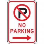"Accuform FRP119RA, Parking Sign ""No Parking"" & Right Arrow Symbol"