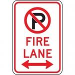"Accuform FRP130RA, Aluminum Sign ""Fire Lane"" & Double Arrow Symbol"