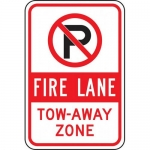 """Accuform FRP131RA, Reflective Aluminum Sign """"Fire Lane Tow-Away Zone"""""""