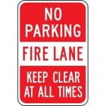 "Accuform FRP132RA, Aluminum Sign ""No Parking Fire Lane Keep Clear…"""