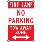 "Accuform FRP136RA, Aluminum Sign ""Fire Lane No Parking Tow-Aw…"""