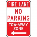 """Accuform FRP137RA, Aluminum Sign """"Fire Lane No Parking Tow-Away…"""""""