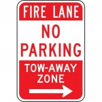 """Accuform FRP138RA, Aluminum Sign """"Fire Lane No Parking Tow-Away…"""""""
