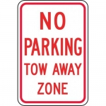"Accuform FRP141RA, Reflective Aluminum Sign ""No Parking Tow Away Zone"""