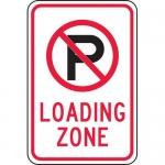 "Accuform FRP143RA, Reflective Aluminum Sign ""Loading Zone"" & P Symbol"