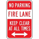 """Accuform FRP154RA, Sign """"No Parking Fire Lane Keep Clear at All Times"""""""