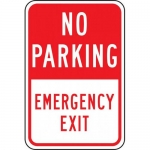 """Accuform FRP167RA, Reflective Sign """"No Parking Emergency Exit"""""""