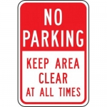 """Accuform FRP168RA, Sign """"No Parking Keep Area Clear at All Times"""""""