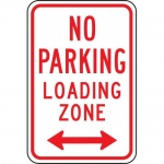 """Accuform FRP174RA, Reflective Sign """"No Parking Loading Zone"""""""