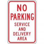 """Accuform FRP188RA, Sign """"No Parking Service and Delivery Area"""""""