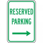 """Accuform FRP209RA, Sign """"Reserved Parking"""" & Right Arrow Symbol"""