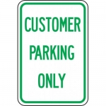 """Accuform FRP215RA, Reflective Aluminum Sign """"Customer Parking Only"""""""