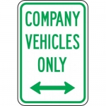 """Accuform FRP220RA, Sign """"Company Vehicles Only"""" & Double Arrow Symbol"""