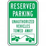 """Accuform FRP224RA, Reflective Sign """"Reserved Parking Unauthorized…"""""""
