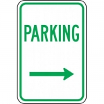 "Accuform FRP226RA, Reflective Sign ""Parking"" & Right Arrow Symbol"