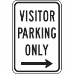 """Accuform FRP248RA, Sign """"Visitor Parking Only"""" & Right Arrow Symbol"""