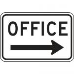 """Accuform FRP280RA, Reflective Sign """"Office"""" & Right Arrow Symbol"""