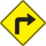 "Accuform FRW413DP, DG High Prism Road Sign ""Right Turn Symbol"""