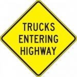 "Accuform FRW420DP, DG High Prism Sign ""Trucks Entering Highway"""